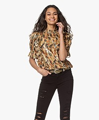 ba&sh Gilda Printed Silk Lurex Blouse - Multi-color
