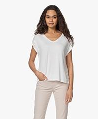 Majestic Filatures Superwashed Viscose V-hals T-shirt - Milk