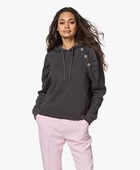 ba&sh Bora Hooded Puff Sleeve Sweatshirt - Carbon