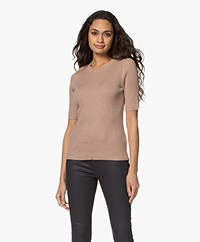 Repeat Rib Organic Cotton Blend Sweater - Caramel