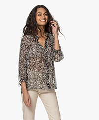 ba&sh Elia Printed Chiffon Blouse - Black/Cream