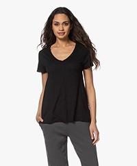 American Vintage Jacksonville V-hals T-shirt - Zwart