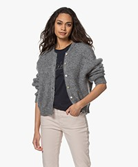 American Vintage Zabidoo Short Mohair Blend Cardigan - Grey Heather