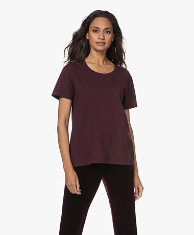 Denham Emma Katoenen Ronde Hals T-shirt - Winetasting Plum