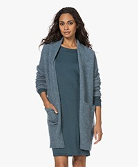 no man's land Open Mohair and Wool Blend Cardigan - Peacock