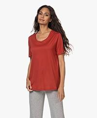 HANRO Balance Lyocell Ronde Hals T-shirt - Blood Orange