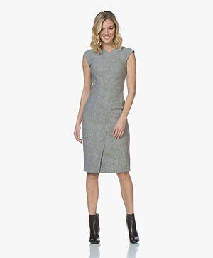 BOSS Dechesta Wool Blend Checkered Dress - Open Miscellaneous