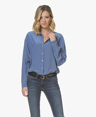 BOSS Ecluni Zijden Blouse - Bright Blue