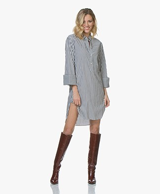 BOSS Etmo Poplin Shirt Dress - White/Grey