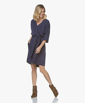 BOSS Hajaro V-neck Dress with Cropped Sleeves - Dark Blue
