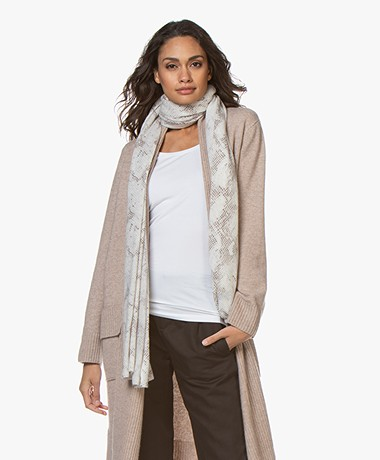 Repeat Cashmere Snake Print Scarf - Off-white/Grey