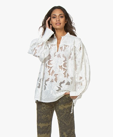 By Malene Birger Chalais Embroidered Lace Blouse - Pure White