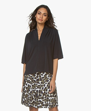 By Malene Birger Bijana Crêpe Jersey T-shirt - Night Blue