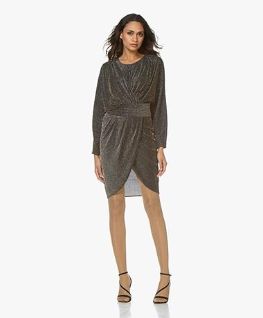 IRO Magnus Wrap Lurex Dress - Black/Silver/Gold