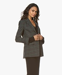 Drykorn Atlin Checkered Wool Blend Blazer - Grey