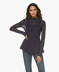 By Malene Birger Mauria Delicaat Gebreide Blouse - Night Blue