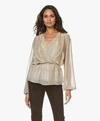 IRO Maryle Lurex Wrap Blouse - Beige