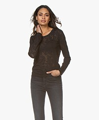 Rag & Bone Valencia Burn-out Long Sleeve - Black