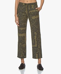 By Malene Birger Heliah Twill Broek met Print - Winter Moss