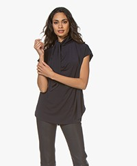 By Malene Birger Katie Crepe Jersey Blouse Top with Tie Neck - Night Sky