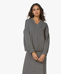 Joseph V-neck Wool-Cashmere Blend Sweater - Dark Grey