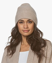 Repeat Cashmere Rib Knitted Beanie - Sand