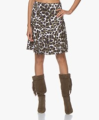 By Malene Birgir Leela A-line skirt with Animal Print - Winter Moss