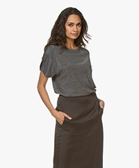 IRO Clayton Lurex T-Shirt - Zwart/Zilver