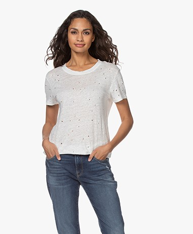 IRO Clay Distressed Linen T-shirt - Ecru