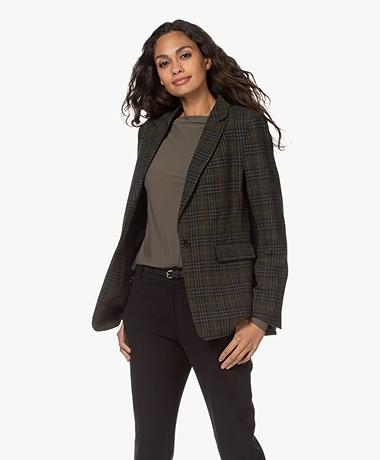 Repeat Luxury Wool Blend Tartan Checked Blazer - Green/Black