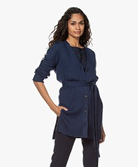 Repeat Merino Wool Cardigan with Tie Belt - Dark Blue