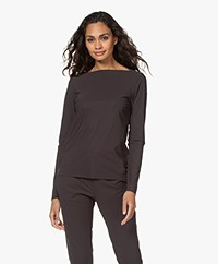 Woman by Earn Ditte Tech Jersey Boothals Longsleeve - Donkerbruin