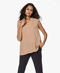 Repeat Sleeveless Viscose Twill Blouse - Camel
