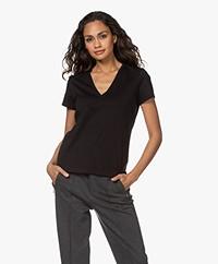 Drykorn Nilia Katoenen V-hals T-shirt - Zwart