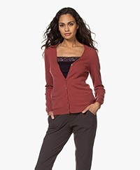 Repeat Cashmere Classic Cardigan - Terracotta