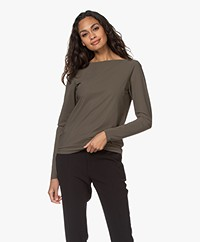 Woman by Earn Tech Jersey Boat Neck Long Sleeve - Army