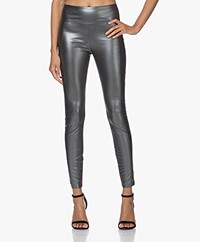 Wolford Estelle Metallic Faux Leather Legging - Antraciet