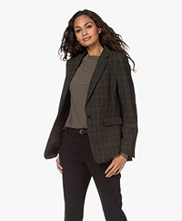 Repeat Luxury Wool Blend Tartan Checked Blazer - Green/Black