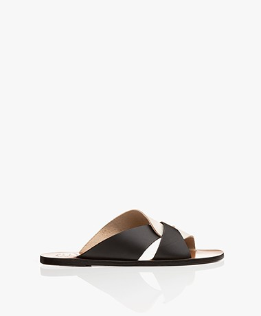 ATP Atelier Allai Leather Sandals - Ice White/Black