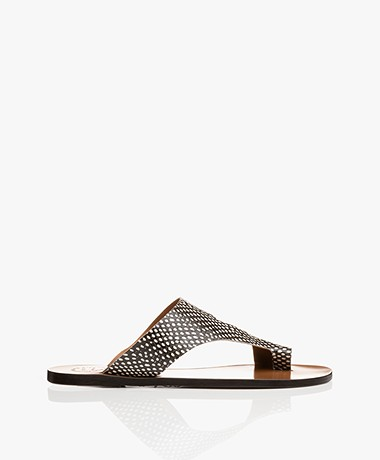 ATP Atelier Roma Snake Leather Toe Sandals - Black/Off-white