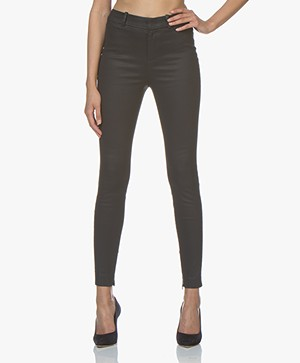 Drykorn Winch Slim-fit Pantalon met Coating - Donkerblauw