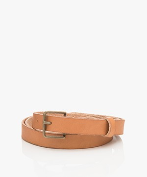 forte_forte Narrow Leather Belt - Naturale