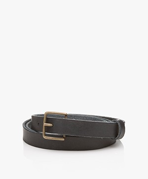 forte_forte Narrow Leather Belt - Notte