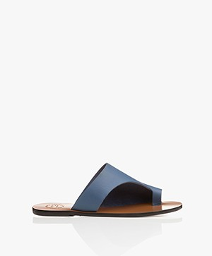 ATP Atelier Rosa Leather Slipper Sandals - Sky Blue