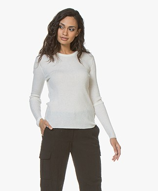 Filippa K Flat Rib R-neck Sweater - Off-white