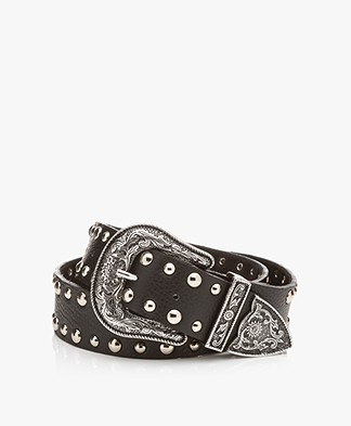 Drykorn Zaggy Leather Western Belt - Black
