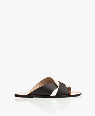 ATP Atelier Allai Leather Slipper Sandals - Ice White/Black
