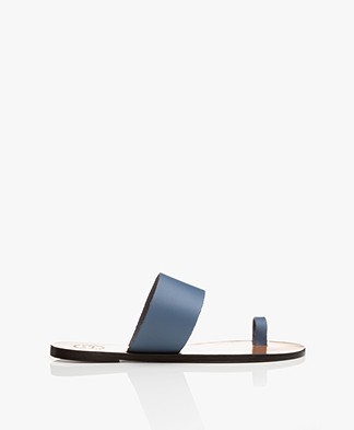 ATP Atelier Astrid Leather Toe Slipper Sandals - Sky Blue