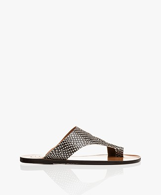 ATP Atelier Roma Snake Leather Toe Slipper Sandals - Black/Off-white
