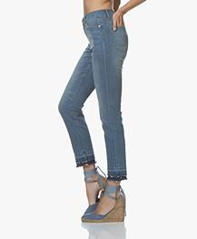 Repeat Raw-hem Skinny Jeans - Light Blue